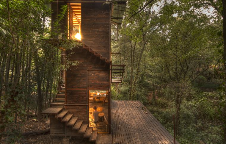 houseboat-forest-méxico-exterior-stairs