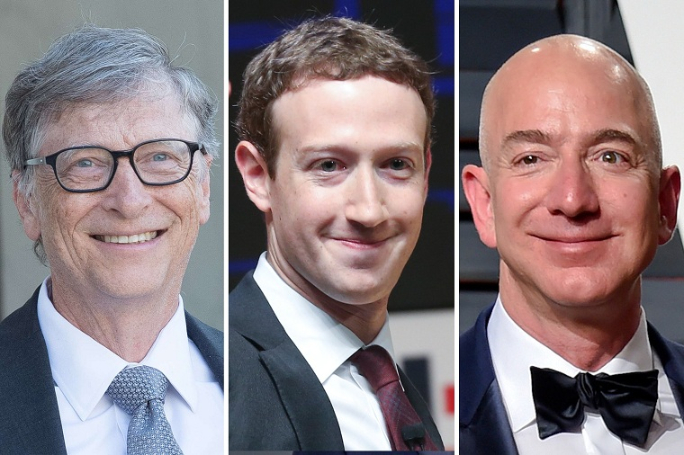 empresários mais ricos do mundo-bill-gates-mark-zuckerberg-jeff-bezos