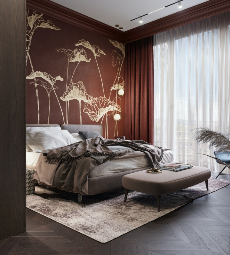 bedroom-design-style-wall-red