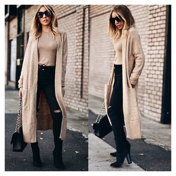 Outfits com cardigan bege